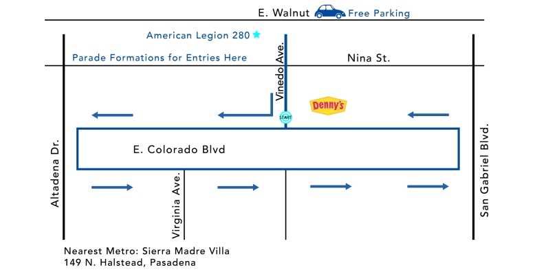 Pasadena Doo Dah Parade map