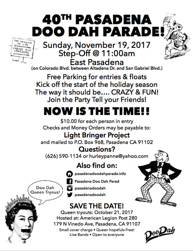 Pasadena Doo Dah Parade flier