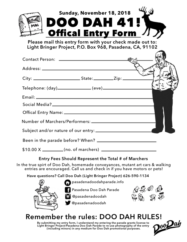 Pasadena Doo Dah Entry Form